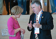 (L) Mary Davis - Director of Europe Eurasia Region Special Olympics while 2011 Special Olympics World Summer Games Athens on June 25, 2011..The idea of Special Olympics is that, with appropriate motivation and guidance, each person with intellectual disabilities can train, enjoy and benefit from participation in individual and team competitions...Greece, Athens, June 25, 2011...Picture also available in RAW (NEF) or TIFF format on special request...For editorial use only. Any commercial or promotional use requires permission...Mandatory credit: Photo by © Adam Nurkiewicz / Mediasport