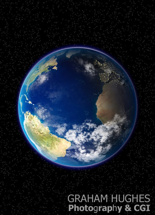 Planet Earth North And South America And Europe And Africa