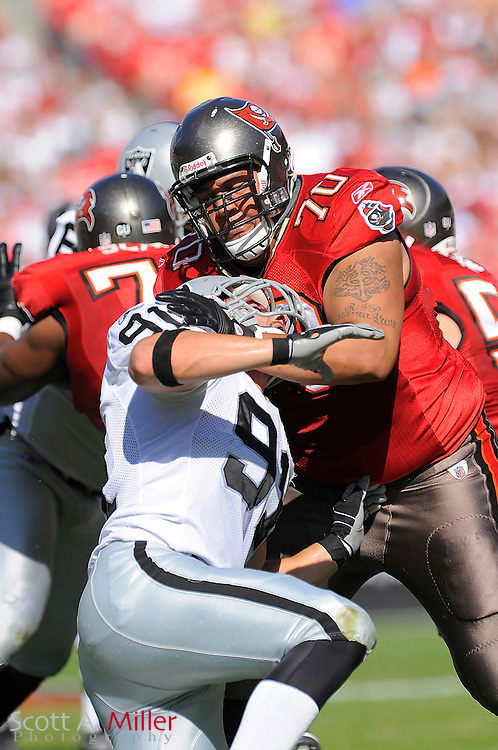 Tampa, Fl: Dec 28, 2008 -- Tampa Bay Buccaneers offensive tackle Donald Penn (70) during the Bucs game against the Oakland Raiders at Raymond James Stadium....©2008 Scott A. Miller