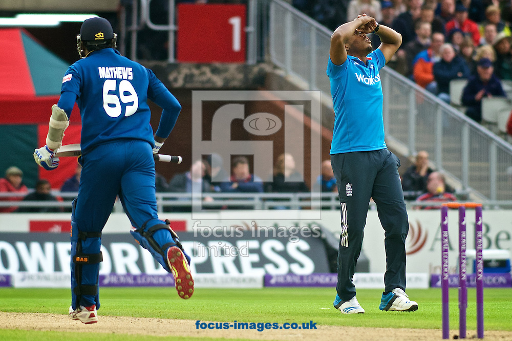 Chris Jordan of England is disappointed after a shot from Angelo Mathews of Sri Lanka narrowly beats the fielder during the Royal London One Day Series match at Old Trafford Cricket Ground, Stretford<br /> Picture by Ian Wadkins/Focus Images Ltd +44 7877 568959<br /> 28/05/2014