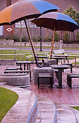 Umbrella Plaza, Providence Portland Medical Office.  Designers: Vala Christensen Landscape Architects, KPFF Consulting Engineers, Michael Maiden Foundry.  NE 45th Avenue and Halsey Street, Portland, Oregon.