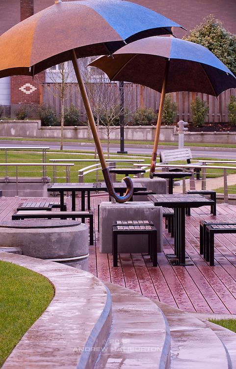 Umbrella Plaza, Providence Portland Medical Office.  Designers: Vala Christensen Landscape Architects, KPFF Consulting Engineers, Michael Maiden Foundry.  NE 45th Avenue and Halsey Street, Portland, Oregon.