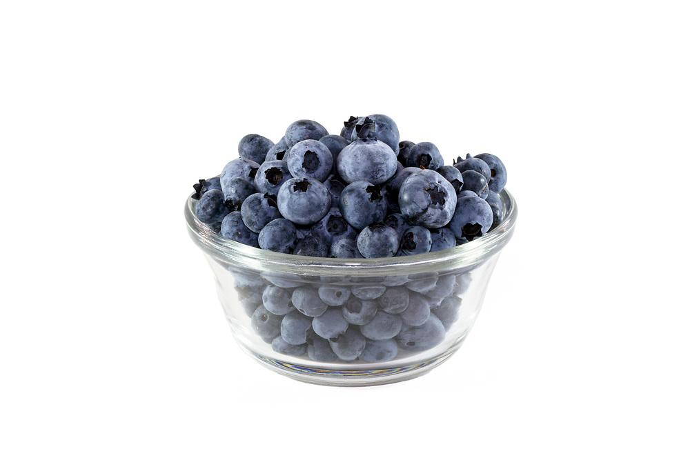 Freshly picked Fraser Valley Highbush Blueberries in a bowl
