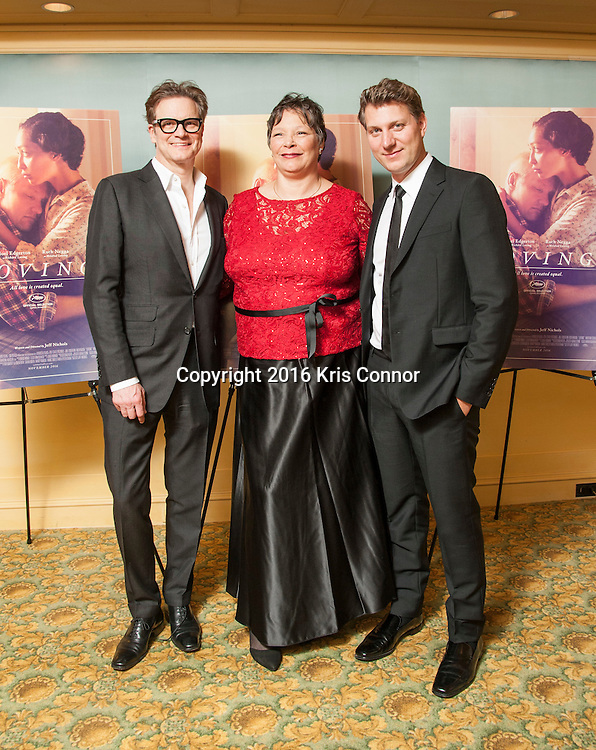 CHARLOTTESVILLE, VA - NOVEMBER 03: Producer Colin Firth, Peggy Loving and Director Jeff Nichols pose for a photo during the Virginia Film Festival premiere of Focus Features' Loving at The Paramount Theatre on November 3, 2016 in Charlottesville, Va. (Kris Connor/Focus Features)