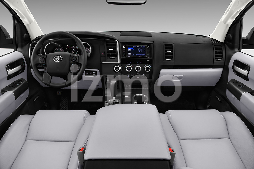 Stock photo of straight dashboard view of a 2018 Toyota sequoia trd sport 5 Door SUV