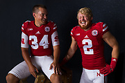 Drew Brown #34 and Zack Darlington #2 during a portrait session at Memorial Stadium in Lincoln, Neb. on June 7, 2017. Photo by Paul Bellinger, Hail Varsity