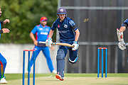 Scotland opening batsman Matthew Cross runs between the wickets during the One Day International match between Scotland and Afghanistan at The Grange Cricket Club, Edinburgh, Scotland on 10 May 2019.