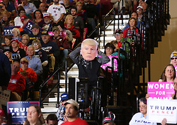 October 27, 2016 - Toledo, Ohio, United States - A supporter wears a Donald Trump mask during a campaign rally at SeaGate Center in Toledo, Ohio, United States on October 27, 2016. (Credit Image: © Emily Molli/NurPhoto via ZUMA Press)