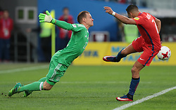 July 2, 2017 - Saint Petersburg, Russia - Marc-Andre Ter Stegen (L) of the Germany national football team and Alexis Sanchez of the Chile national football team vie for the ball during the 2017 FIFA Confederations Cup final match between Chile and Germany at Saint Petersburg Stadium on July 02, 2017 in St. Petersburg, Russia. (Credit Image: © Igor Russak/NurPhoto via ZUMA Press)
