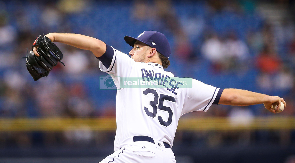 September 15, 2017 - St. Petersburg, Florida, U.S. - WILL VRAGOVIC   |   Times.Tampa Bay Rays starting pitcher Matt Andriese (35) throwing in the second inning of the game between the Boston Red Sox and the Tampa Bay Rays at Tropicana Field in St. Petersburg, Fla. on Friday, Sept. 15, 2017. (Credit Image: © Will Vragovic/Tampa Bay Times via ZUMA Wire)