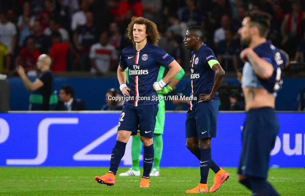 Deception David Luiz - 15.04.2015 - Paris Saint Germain / Barcelone - 1/4Finale Aller Champions League<br />