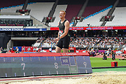 Greg Rutherford of Great Britain smiles after his last jump in the Men's Long Jump during the Muller Anniversary Games, Day Two, at the London Stadium, London, England on 22 July 2018. Picture by Martin Cole.