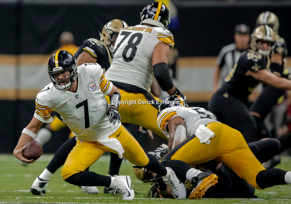 Dec 23, 2018; New Orleans, LA, USA; Pittsburgh Steelers quarterback Ben Roethlisberger (7) is sacked by New Orleans Saints defensive tackle Tyeler Davison (95) during the second quarter at the Mercedes-Benz Superdome. Mandatory Credit: Derick E. Hingle-USA TODAY Sports