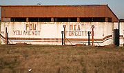 Signs painted on walls at former US airbase, RAF Bentwaters, Suffolk, England. The signs are about remembering POWs and MIAs - Prisoners of War and Missing in Action