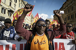 October 22, 2016 - Romer, Italy - Europe, Italy, Rome, October 22, 2016: Demonstration against the Premier Matteo Renzi. After the general strike on Friday of the base unions, which had its sights on the constitutional referendum, the front of No manifest in Rome for the No Renzi Day. Starting at 14, Piazza San Giovanni, renamed for the occasion Square Abd Elsalam by the Egyptian worker name died in July at Piacenza, hosts a ''camped'' that is welded to abstain from work on Friday. The promoters, including leftists, Communist Refoundation, the grassroots unions and the left forces and social policy, they said they want a ''No'' to the Counter-Constitutional ''and all its authors in the name of the exploited people, precarious, without work, impoverished, poisoned. '' In particular the protest to raise awareness on social issues such as ''the work, training and public education, housing, income, social status and the common good in public hands''. And yet ''the environment and democracy, democracy and security in the workplace.'' The protesters also claim ''freedom and democratic sovereignty of the Italian people (Credit Image: © Danilo Balducci via ZUMA Wire)