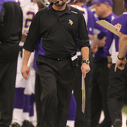 Jan 24, 2010; New Orleans, LA, USA; Minnesota Vikings head coach Brad Childress watches his team during the second quarter of the 2010 NFC Championship game at the Louisiana Superdome. Mandatory Credit: Derick E. Hingle-US PRESSWIRE