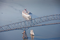 Aerial image of Carnival cruise ship at Francis Scott Key Bridge in Maryland