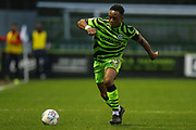 Forest Green Rovers Udoka Godwin-Malife(22) on the ball during the EFL Sky Bet League 2 match between Forest Green Rovers and Swindon Town at the New Lawn, Forest Green, United Kingdom on 21 December 2019.