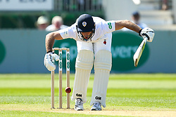 Wayne Madsen of Derbyshire is hit by the ball - Mandatory by-line: Robbie Stephenson/JMP - 20/04/2018 - CRICKET - The 3aaa County Ground  - Derby, England - Derbyshire CCC v Middlesex CCC - Specsavers County Championship Division Two