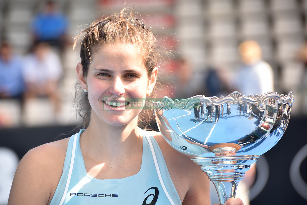 January 7, 2018 - Auckland, Auckland, New Zealand - Julia Goerges of German poses for photos after wining her final match against Caroline Wozniacki of Denmark during the WTA Women's Tournament at ASB Centre Count in Auckland, New Zealand on Jan 7, 2018.  She wins the match, beating Caroline Wozniacki 6-4 7- (Credit Image: © Shirley Kwok/Pacific Press via ZUMA Wire)