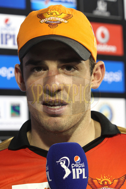 Man of the Match Moises Henriques of Sunrisers Hyderabad during match 45 of the Pepsi IPL 2015 (Indian Premier League) between The Delhi Daredevils and the Sunrisers Hyderabad held at the Shaheed Veer Narayan Singh International Cricket Stadium in Raipur, India on the 9th May 2015.<br /> <br /> Photo by:  Shaun Roy / SPORTZPICS / IPL
