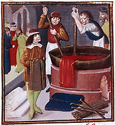 Dyers immersing bolt of cloth in vat of dye placed over a fire.  At bottom right is bundle of sticks (faggot) ready to be added to fire.15th century manuscript. British Museum
