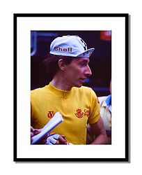Robert Millar, Vuelta 1985<br /> <br /> A moment to relax as the Vuelta reaches the outskirts of Madrid with only two stages to go.