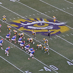 October 8, 2011; Baton Rouge, LA, USA;  The Florida Gators offense lines up against the LSU Tigers defense during the second half at Tiger Stadium. LSU defeated Florida 41-11. Mandatory Credit: Derick E. Hingle-US PRESSWIRE / © Derick E. Hingle 2011