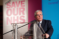 © licensed to London News Pictures. London, UK. 07/03/12. Dr Peter Carter, General Secretary of the Royal College of Nursing speaks at the main rally in the Methodist Central Hall, Westminster. 'Save our NHS' march & rally in Central London in protest against proposed government changes to the National Health Service. Photo credit: Jules Mattsson/LNP