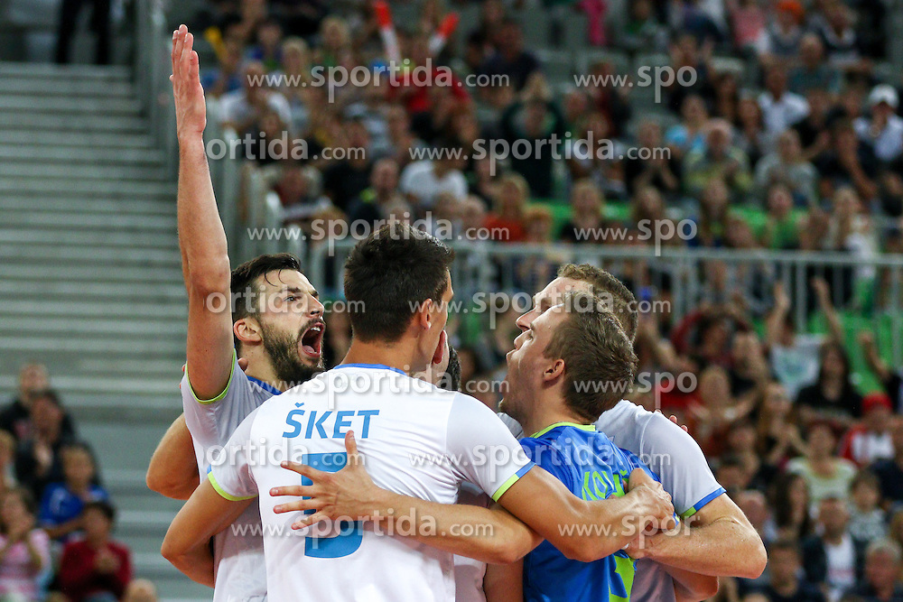 Players of Slovenia celebrate during friendly volleyball match between national teams of Slovenia and Brasil in Arena Stozice on 9. September 2015 in , Ljubljana, Slovenia. Photo by Matic Klansek Velej / Sportida