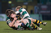 Wycombe, GREAT BRITAIN,  Tigers, left Aaron MAUGER and Sam VESTY combine to tackle, Wasps' Dominic WALDOUCK,  during the Guinness Premiership rugby game, London Wasps vs Leicester Tigers at Adam's Park Stadium, Bucks, England, on Sun 15.02.2009. [Photo, Peter Spurrier/Intersport-images]