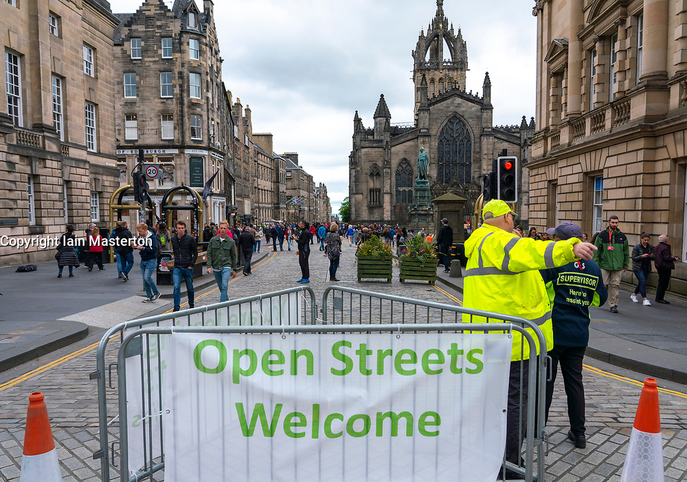 View of Royal Mile in Edinburgh on Open Streets Day on 2 June 2019. Scotland, UK.