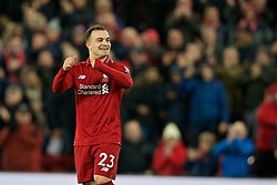 LIVERPOOL, ENGLAND - Saturday, December 29, 2018: Liverpool's Sheridan Shaqiri celebrates after the 5-1 victory during the FA Premier League match between Liverpool FC and Arsenal FC at Anfield. (Pic by David Rawcliffe/Propaganda)