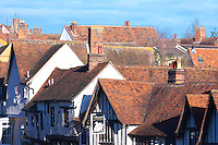 Idyllic scene of historic medieval rooftops in Lavenham, Suffolk, UK.
