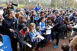 Huddersfield Town manager David Wagner signs autographs for fans on arrival at the stadium - Mandatory by-line: Matt McNulty/JMP - 18/02/2017 - FOOTBALL - The John Smith's Stadium - Huddersfield, England - Huddersfield Town v Manchester City - Emirates FA Cup fifth round