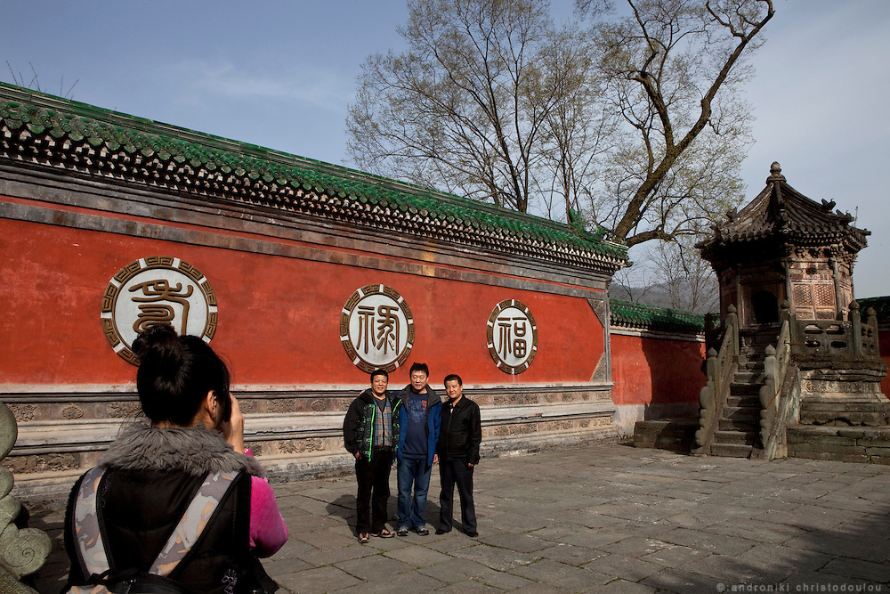 Asia, China, Hubei province. Chinese tourists at the Crown Prince Slope, a Temple at Wudang moutain (Wudang-san), a World Heritage mountain with many Taoist monasteries.