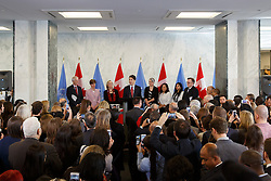 Canadian Prime Minister Justin Trudeau speaks at the Secretariat Lobby at the United Nations headquarters in New York, March 16, 2016. Canada will actively run for a seat at the Security Council for a two-year term starting from 2021, Canadian Prime Minister Justin Trudeau said here on Wednesday. EXPA Pictures © 2016, PhotoCredit: EXPA/ Photoshot/ Li Muzi<br /> <br /> *****ATTENTION - for AUT, SLO, CRO, SRB, BIH, MAZ, SUI only*****