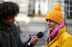 Presenter Radzi Chinyanganya (left) interviews the Race director during the 2019 London Landmarks Half Marathon.
