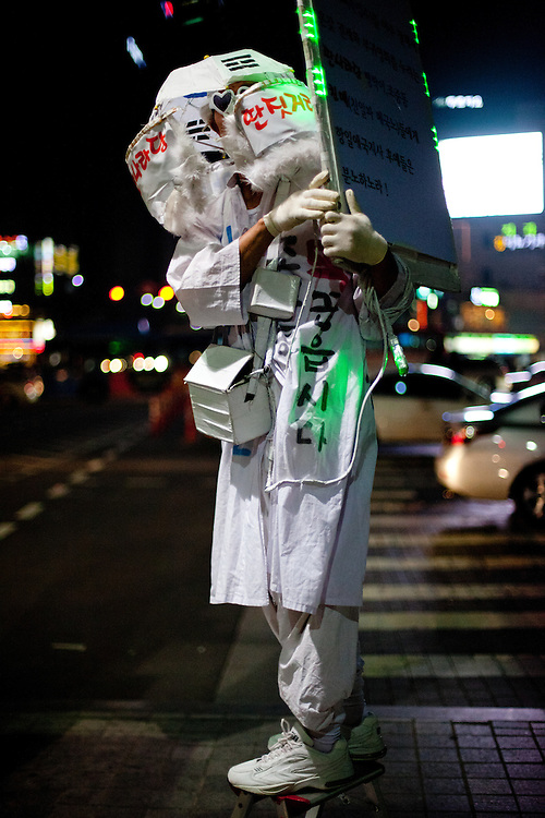 A man protesting at Gwanghwamun square in the center of the Korean capital city Seoul.