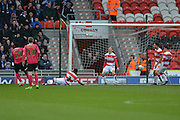 Ricardo Santos (12) of Peterborough United scores goal to go 2-1 up  during the Sky Bet League 1 match between Doncaster Rovers and Peterborough United at the Keepmoat Stadium, Doncaster, England on 19 March 2016. Photo by Ian Lyall.