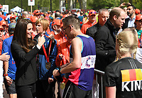 Catherine, Duchess of Cambridge and Prince William, Duke of Cambridge give out medals to the finishers of the 2017 Virgin Money London Marathon.<br /> The Virgin Money London Marathon, 23rd April 2017.<br /> <br /> Photo: Karwai Tang for Virgin Money London Marathon<br /> <br /> For further information: media@londonmarathonevents.co.uk