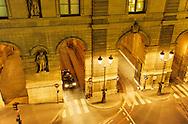 France. Paris. 1st district. Elevated view. The Louvre museum and Rivoli street.   /     Louvre Museum and Rue de Rivoli