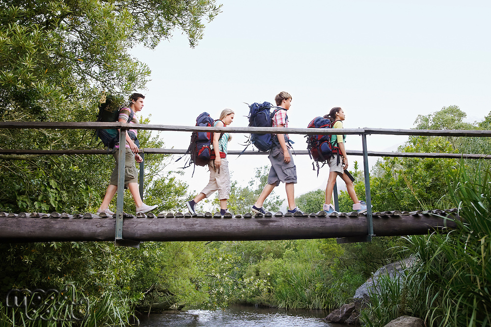 Four teenagers (16-17 years) backpacking in forest crossing wooden bridge side view