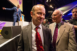© Licensed to London News Pictures. 17/02/2018. Birmingham UK. Henry Bolton cast's his vote at the Ukip EGM today at the International Convention Centre in Birmingham to decide weather the party members will either back Henry Bolton as the party leader or endorse the No Confidence vote of the National Executive Committee.  Photo credit: Andrew McCaren/LNP