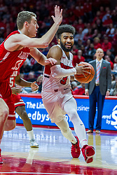 NORMAL, IL - February 16: Keyshawn Evans defended by Luuk Van Bree during a college basketball game between the ISU Redbirds and the Bradley Braves on February 16 2019 at Redbird Arena in Normal, IL. (Photo by Alan Look)