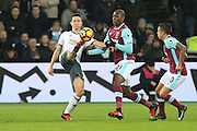 Ander Herrera Midfielder of Manchester United battles with West Ham Defender Angelo Ogbonna Obinze during the Premier League match between West Ham United and Manchester United at the Stadium Queen Elizabeth Olympic Park, London, United Kingdom on 2 January 2017. Photo by Phil Duncan.