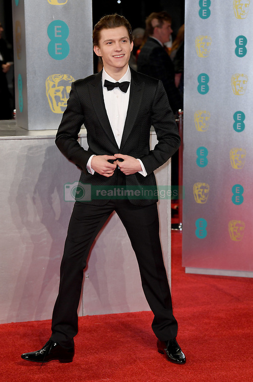 Tom Holland attending the EE British Academy Film Awards held at the Royal Albert Hall, Kensington Gore, Kensington, London. Picture date: Sunday February 12, 2017. Photo credit should read: Doug Peters/ EMPICS Entertainment