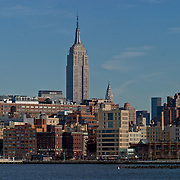 Empire State Building. New York City skyline seen from the Hudson river, Circle Line Cruise.