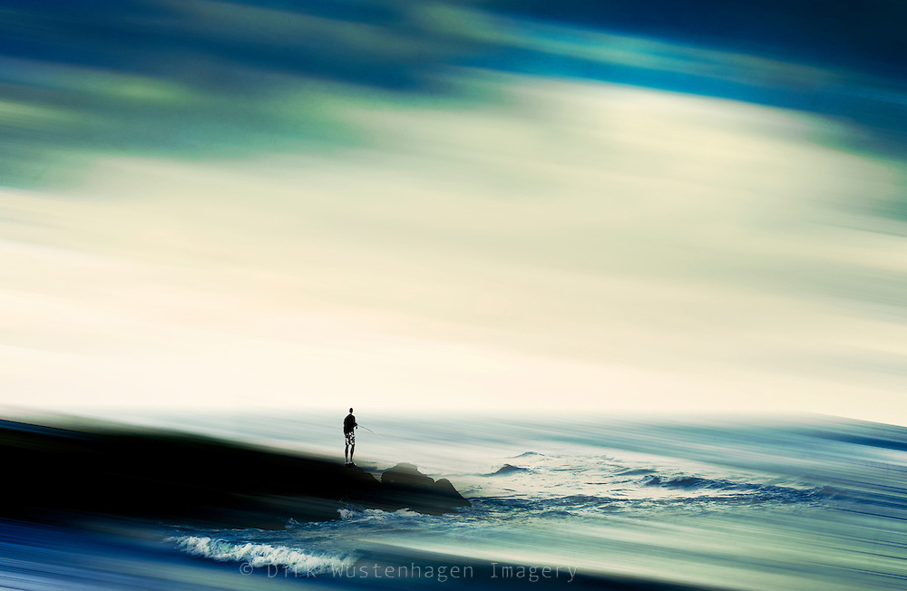 Abstraction of a man trying to catch some fish.<br /> <br /> Prints: http://society6.com/DirkWuestenhagenImagery