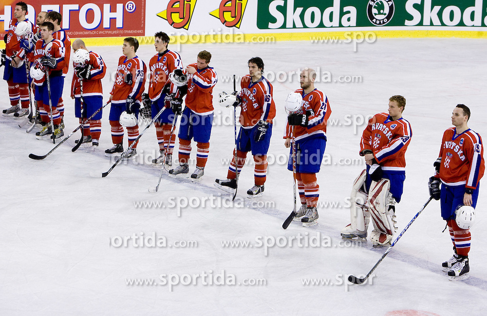 Players of Croatia after the IIHF Ice-hockey World Championships Division I Group B match between National teams of Croatia and Great Britain, on April 17, 2010, in Tivoli hall, Ljubljana, Slovenia. (Photo by Vid Ponikvar / Sportida)
